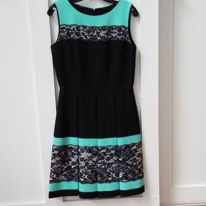 Tahari Teal and Black Dress